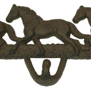 Cast Iron 3 Horse Head Coat Hooks Wall Mounted